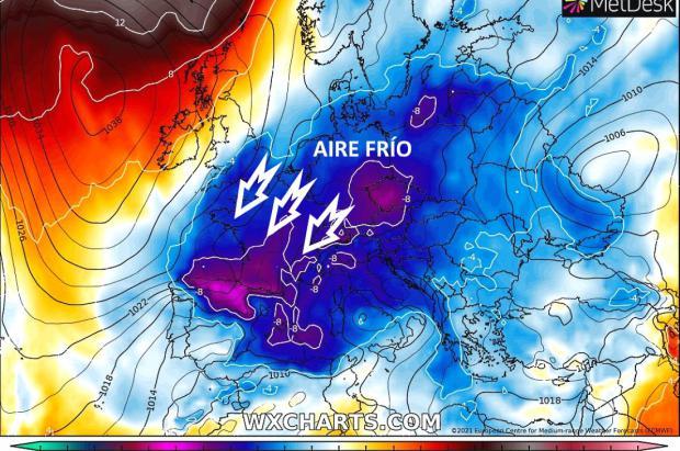 A partir del jueves 18 llegaría una gran irrupción de aire frío con nevadas y desplome de temperaturas