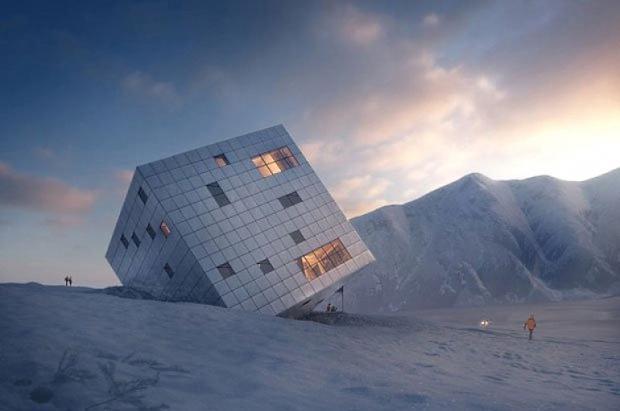 La casa cubo autosuficiente de montaña