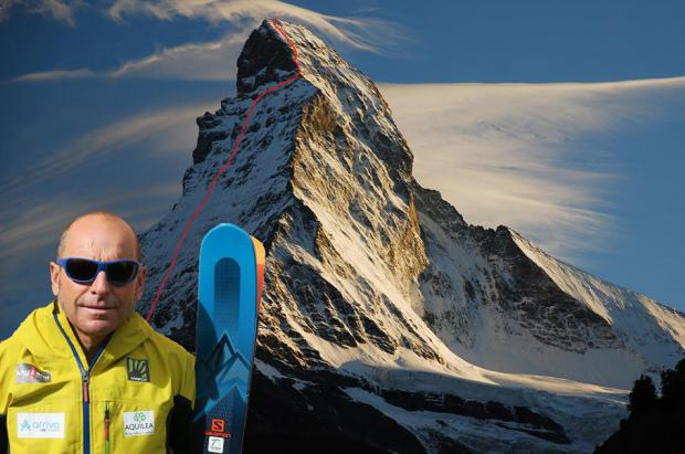 El guía italiano de 60 años Edmond Joyeusaz esquía el Matterhorn por la cara noreste