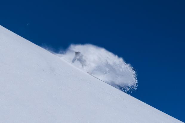 Disfrutando del 'powder' el uno de septiembre en el glaciar de Hintertux