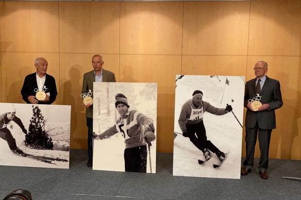 Homenaje olímpico a Lluís Molné, Lluís Viu y Francesc Viladomat, pioneros del esquí andorrano