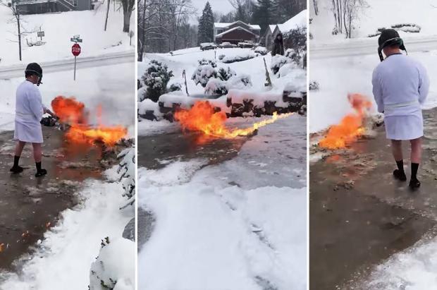 Un vecino de Kentucky quita la nieve de casa en zapatillas y bata… ¡con un lanzallamas!
