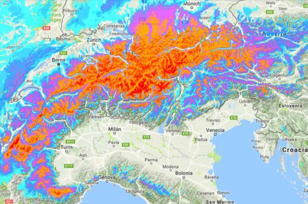 Una borrasca dejará nevadas de hasta 50cm en cara norte Pirineos y de más de 100cm Alpes