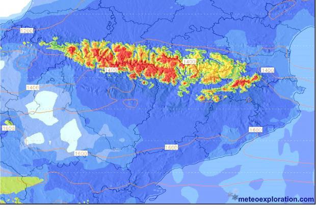 Meteo: sábado de lluvias fuertes y nevadas destacables con una cota bajando a 1.400m
