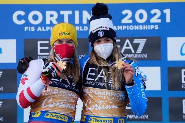 Bassino y Liensberger y el francés Faivre, oros mundiales en el gigante paralelo de Cortina