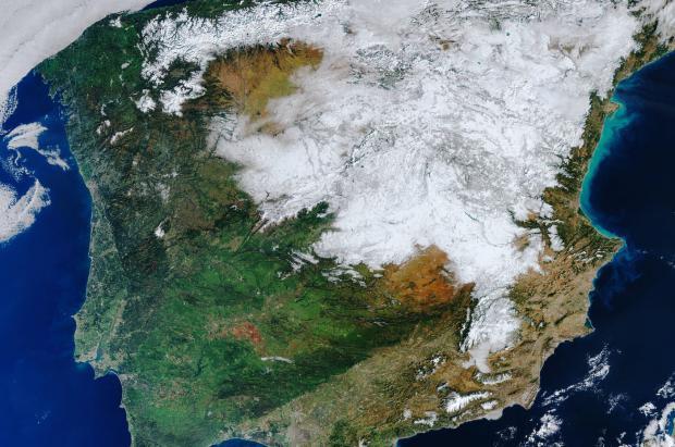 La espectacular nevada dejada por Filomena vista desde el espacio