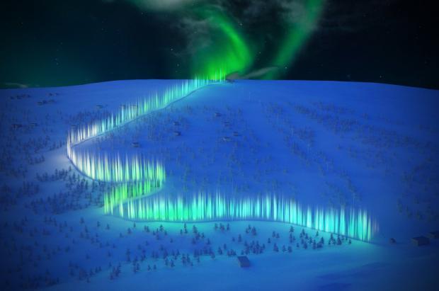 Finlandia tendrá la pista de trineos más larga de Europa iluminada con auroras boreales