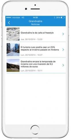 Captura App Snowcheck noticias