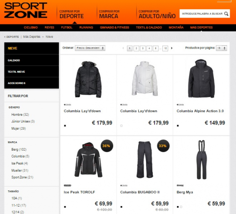 captura web Sport Zone