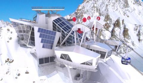 diseño de la futurista estación superior del telefércio, en Punta Helbronner
