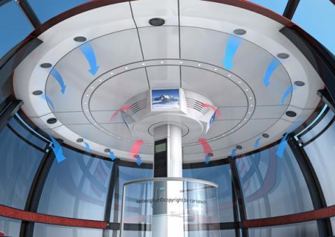 Modelo de la cabina del teleférico del Mont Blanc que asciende a la Punta Helbronner