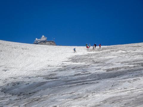Aletschgletscher con Jungfraujoch-Sphynx al fondo. Iniciando el descenso