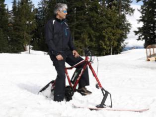 Transforma tu bicicleta en una moto de nieve