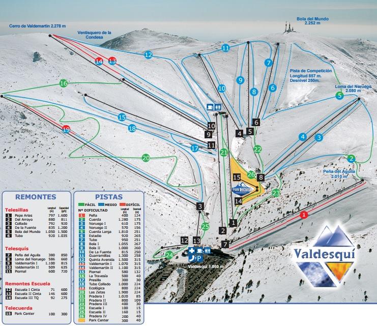 mapa de pistas de Valdesquí