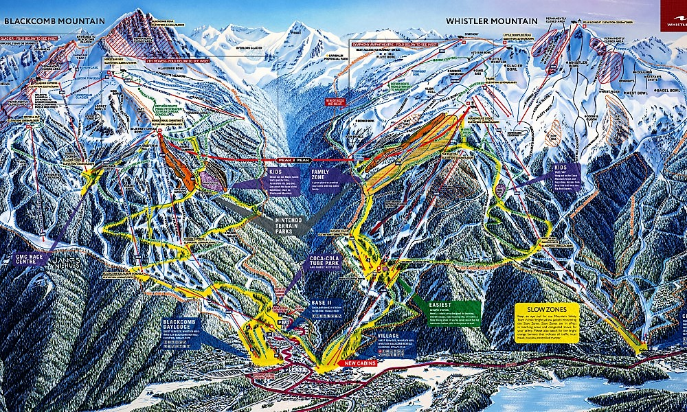 Mapa de pistas de Whistler Blackcomb
